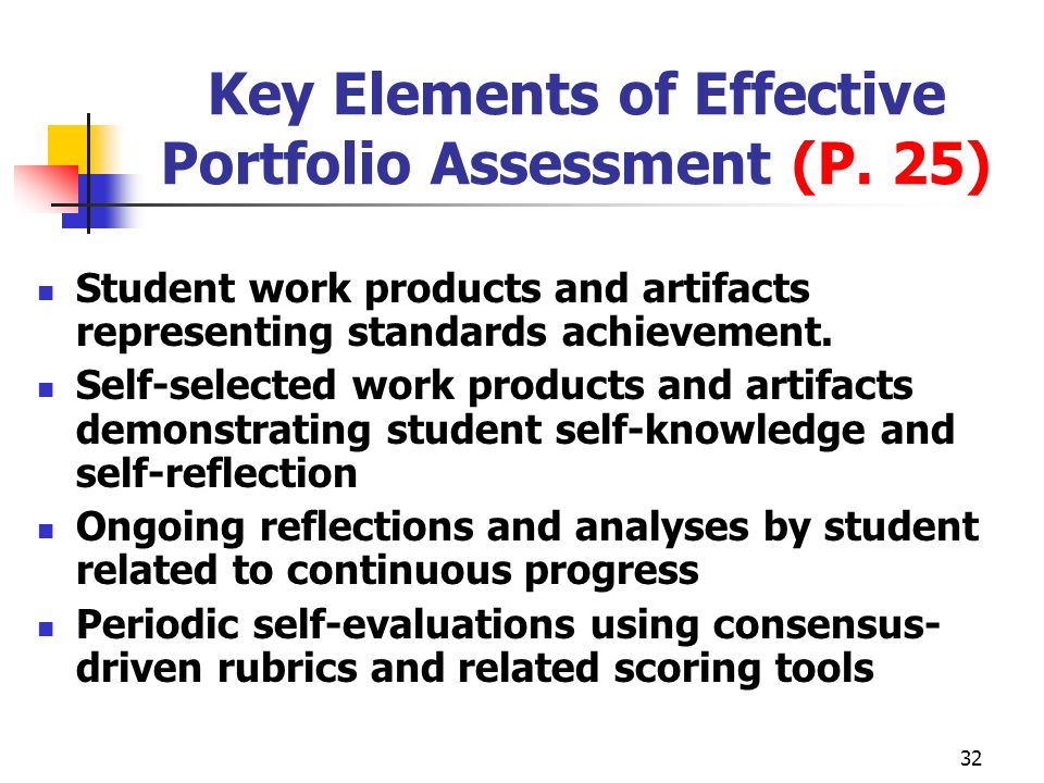 Key Elements of Effective Portfolio Assessment (P. 25)