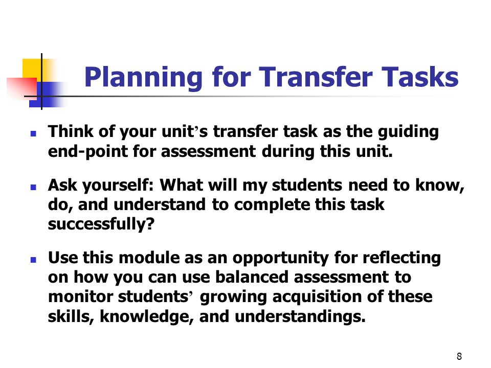 Planning for Transfer Tasks