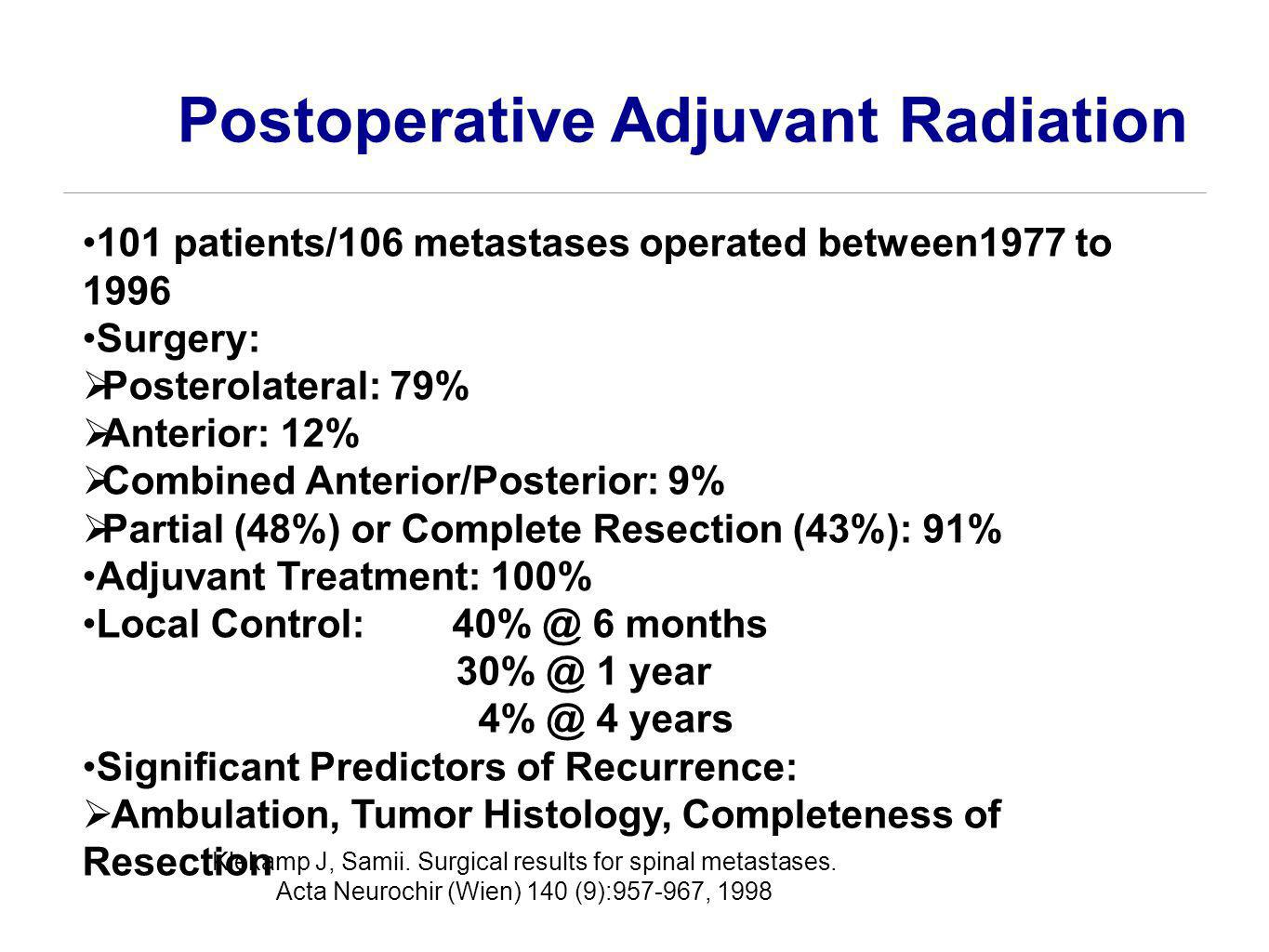 Postoperative Adjuvant Radiation