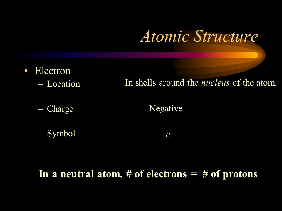 In a neutral atom, # of electrons = # of protons