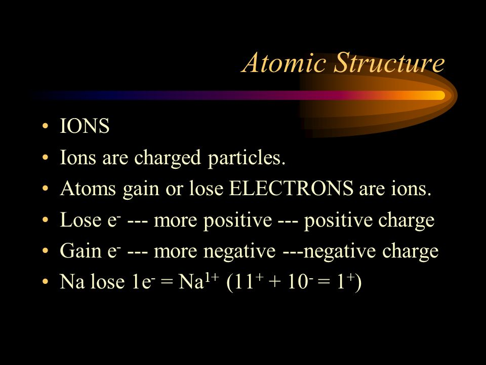 Atomic Structure IONS Ions are charged particles.