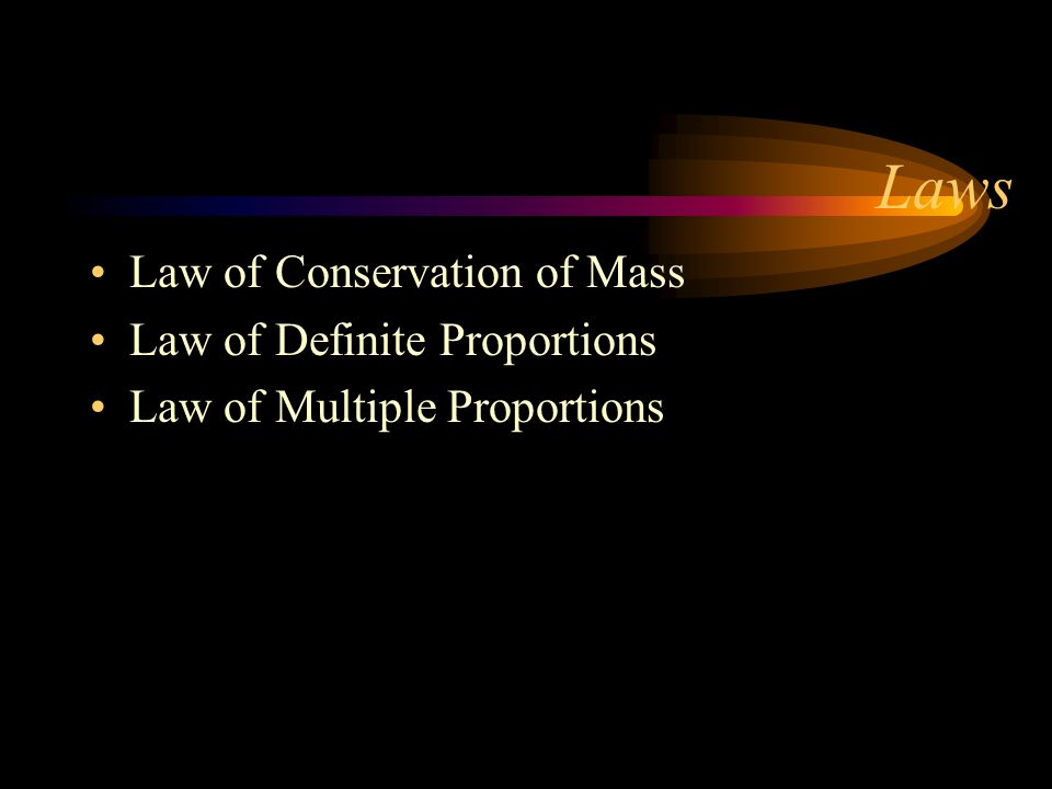 Laws Law of Conservation of Mass Law of Definite Proportions