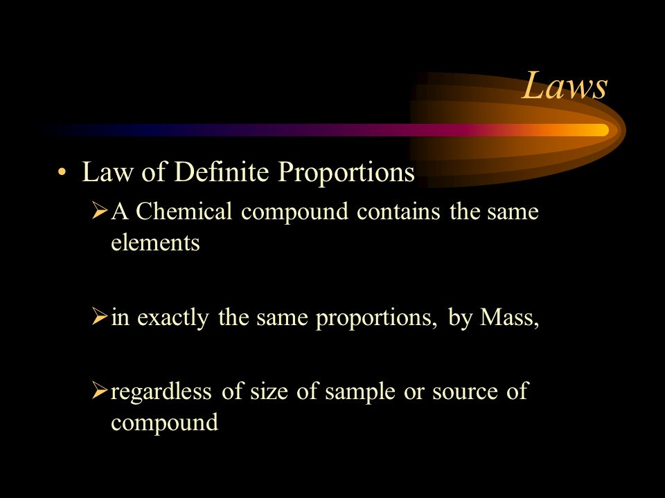 Laws Law of Definite Proportions