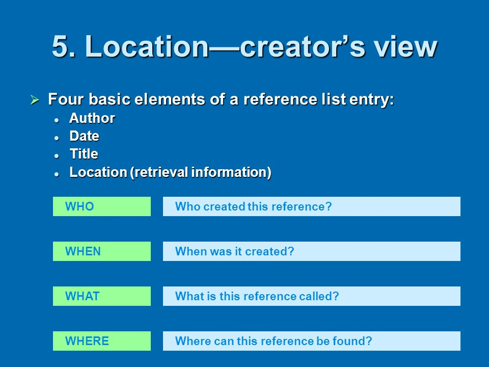 5. Location—creator's view