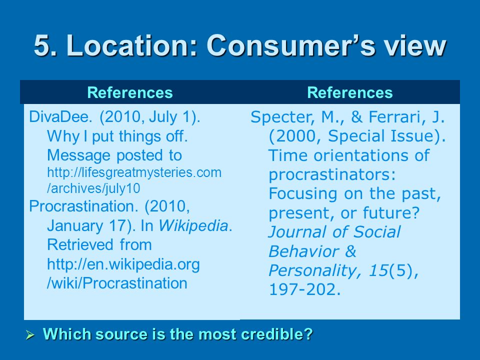 5. Location: Consumer's view
