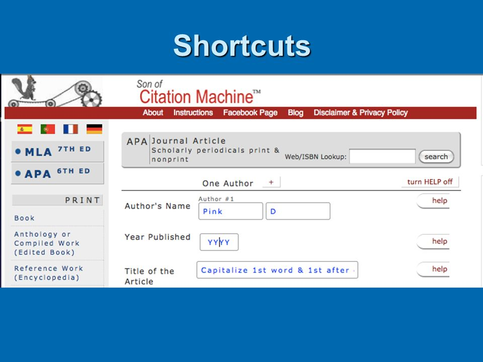 Shortcuts Free citation-makers