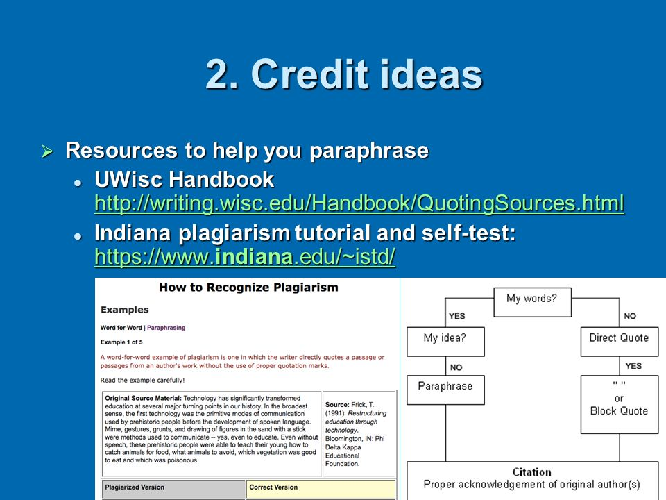 2. Credit ideas Resources to help you paraphrase