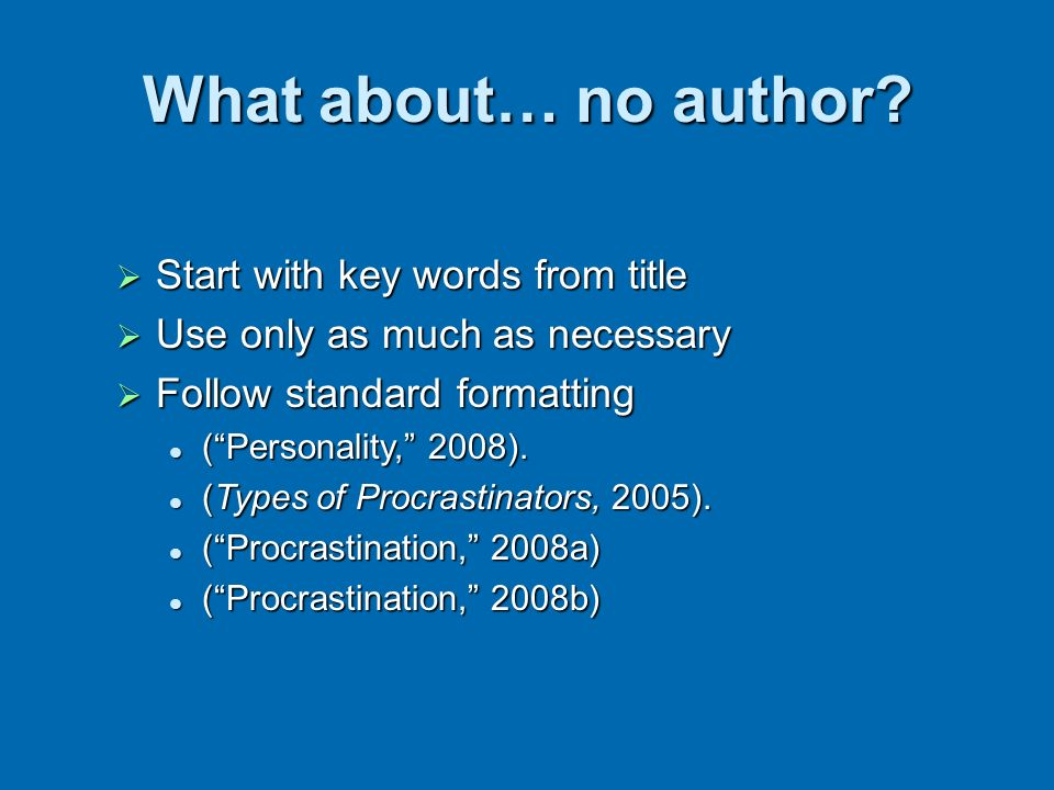 What about… no author Start with key words from title
