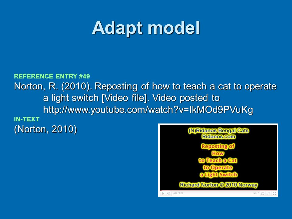 Adapt model REFERENCE ENTRY #49.
