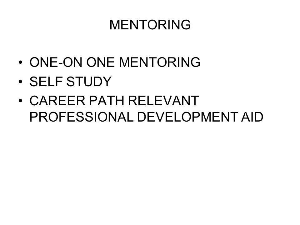 MENTORING ONE-ON ONE MENTORING SELF STUDY CAREER PATH RELEVANT PROFESSIONAL DEVELOPMENT AID