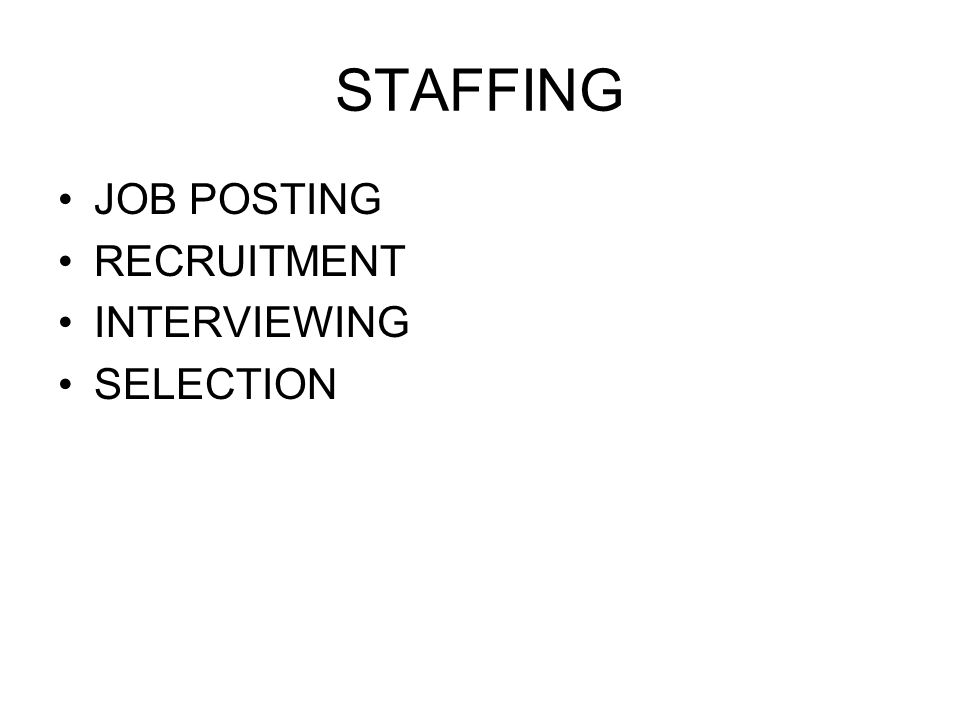 STAFFING JOB POSTING RECRUITMENT INTERVIEWING SELECTION