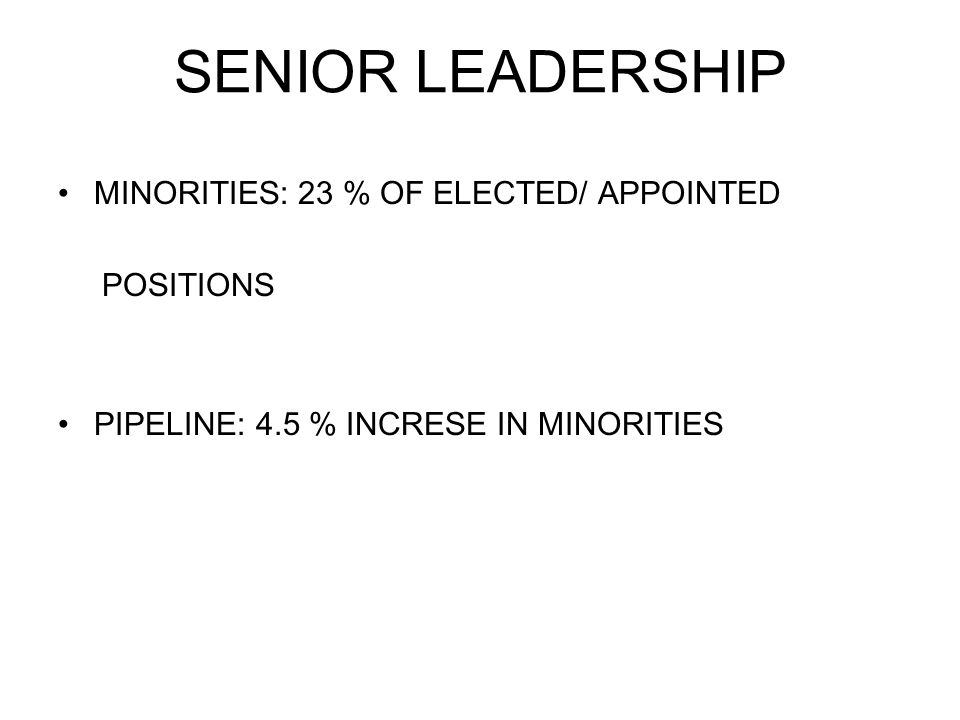SENIOR LEADERSHIP MINORITIES: 23 % OF ELECTED/ APPOINTED POSITIONS