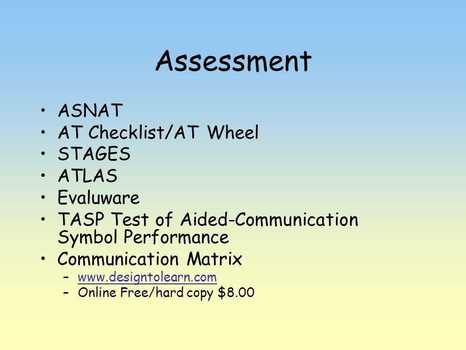 Assessment ASNAT AT Checklist/AT Wheel STAGES ATLAS Evaluware