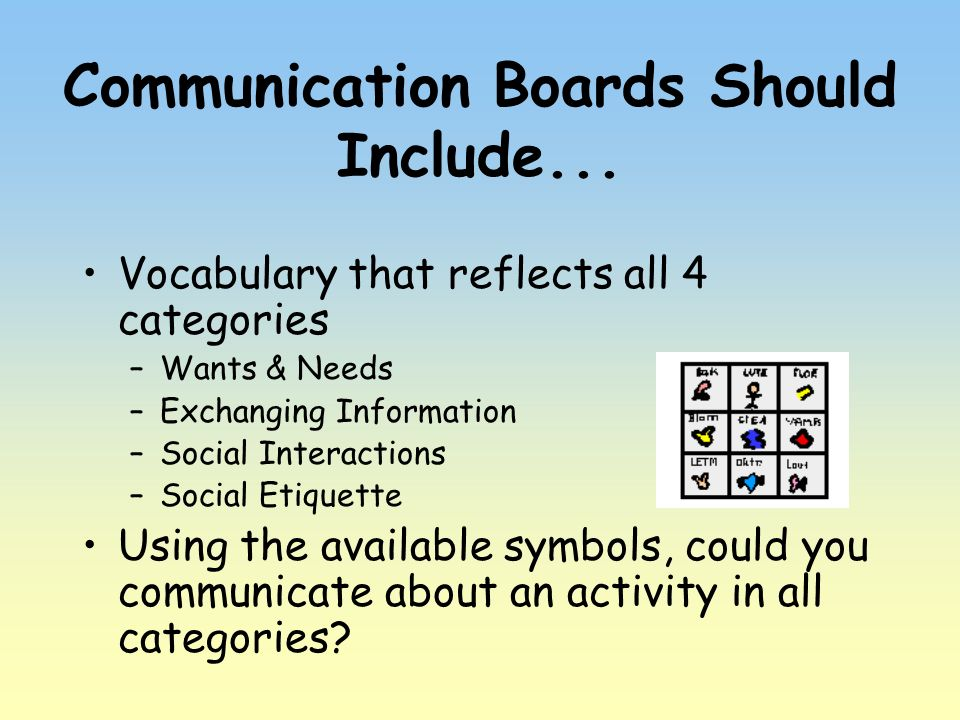 Communication Boards Should Include...