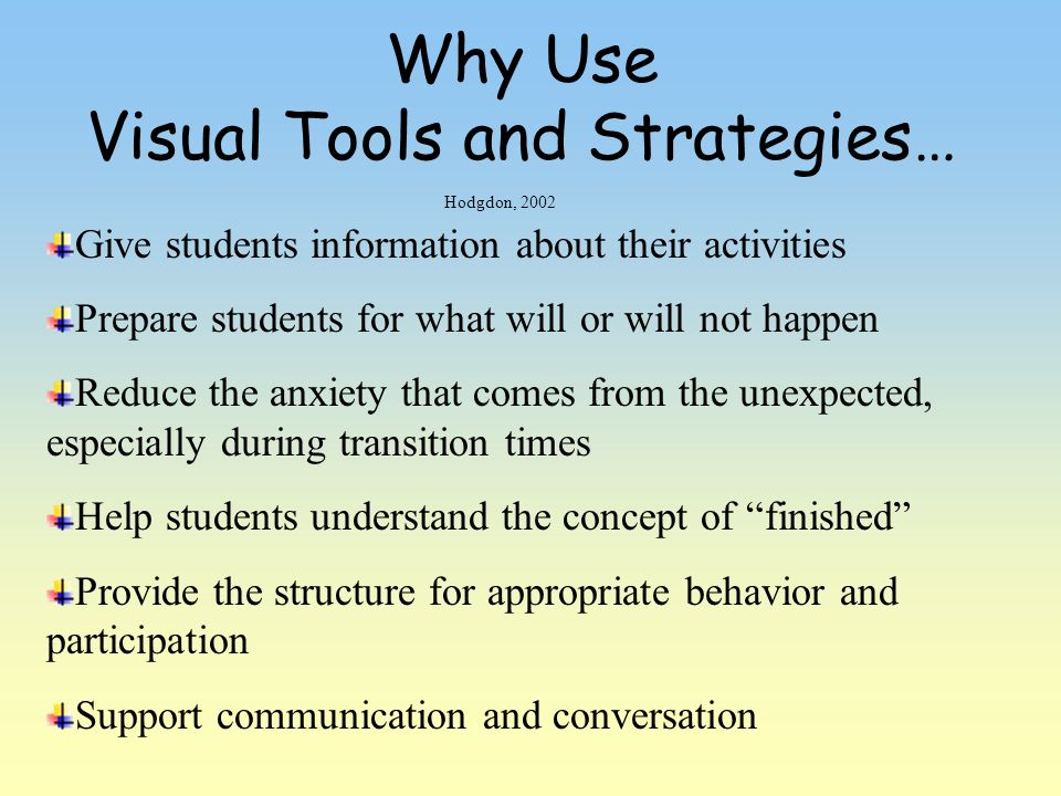 Why Use Visual Tools and Strategies…