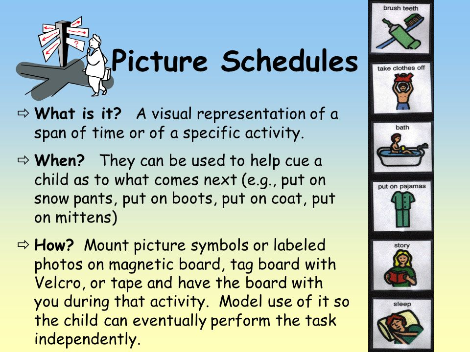 Picture Schedules What is it A visual representation of a span of time or of a specific activity.