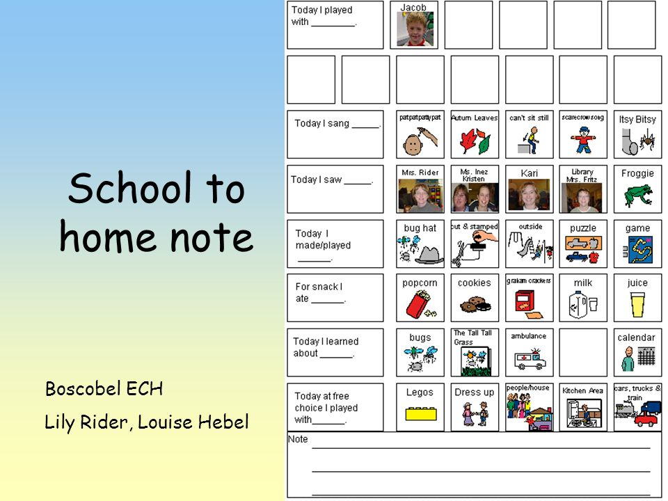 School to home note Boscobel ECH Lily Rider, Louise Hebel