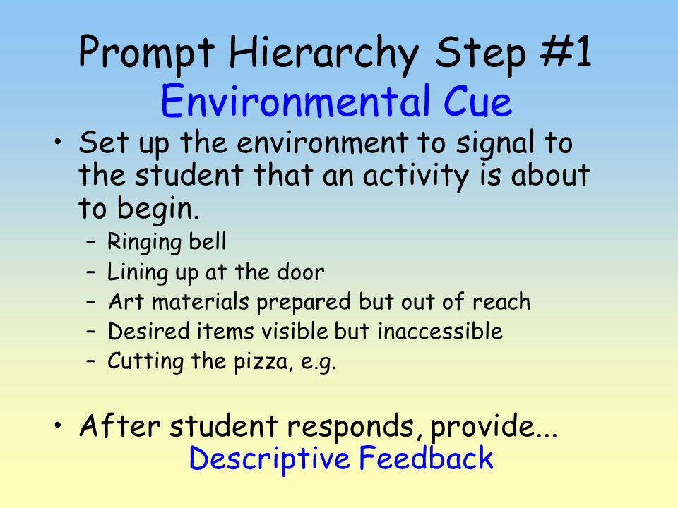 Prompt Hierarchy Step #1 Environmental Cue
