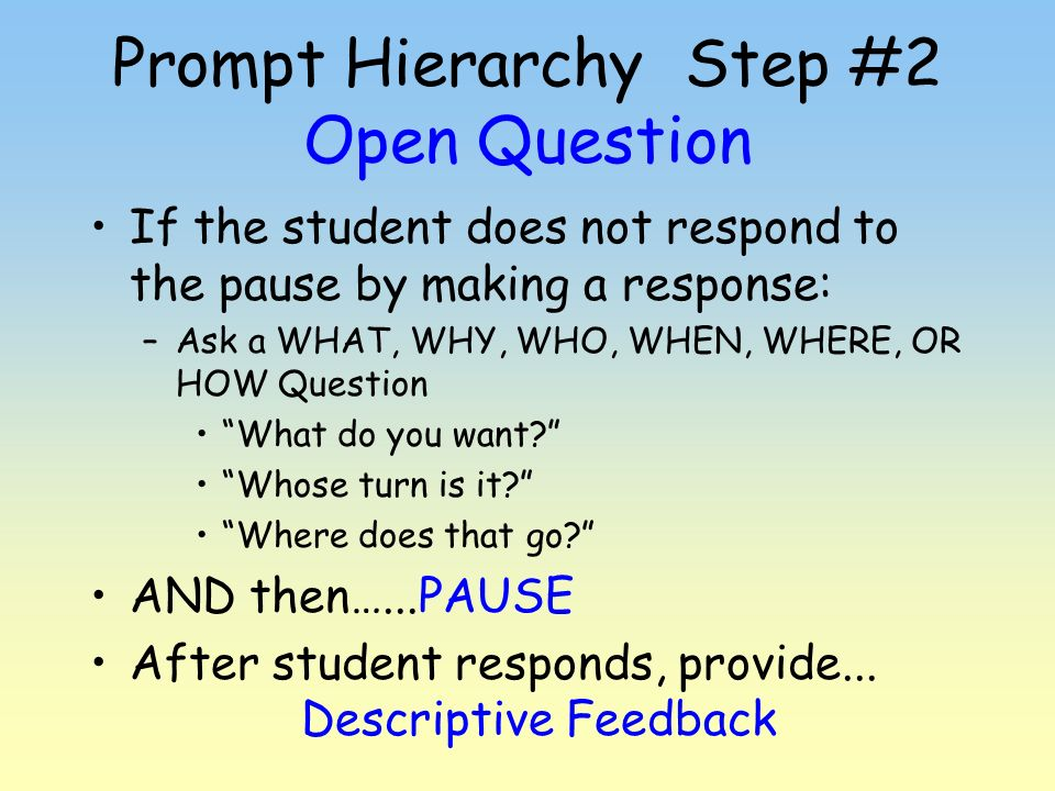 Prompt Hierarchy Step #2 Open Question
