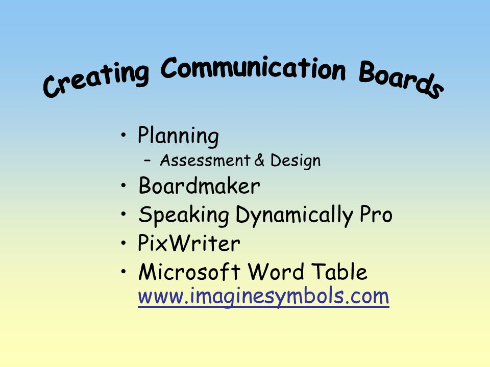 Creating Communication Boards