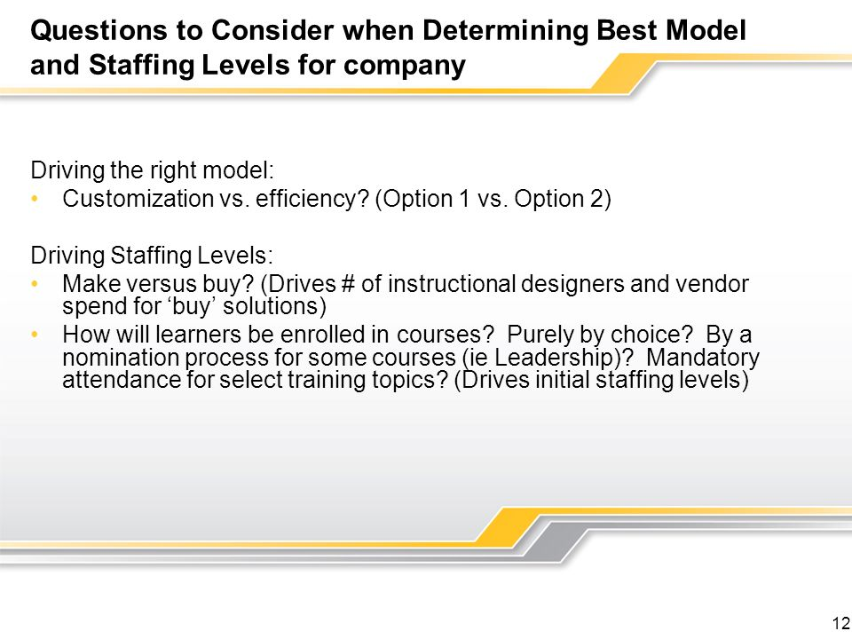 Questions to Consider when Determining Best Model and Staffing Levels for company