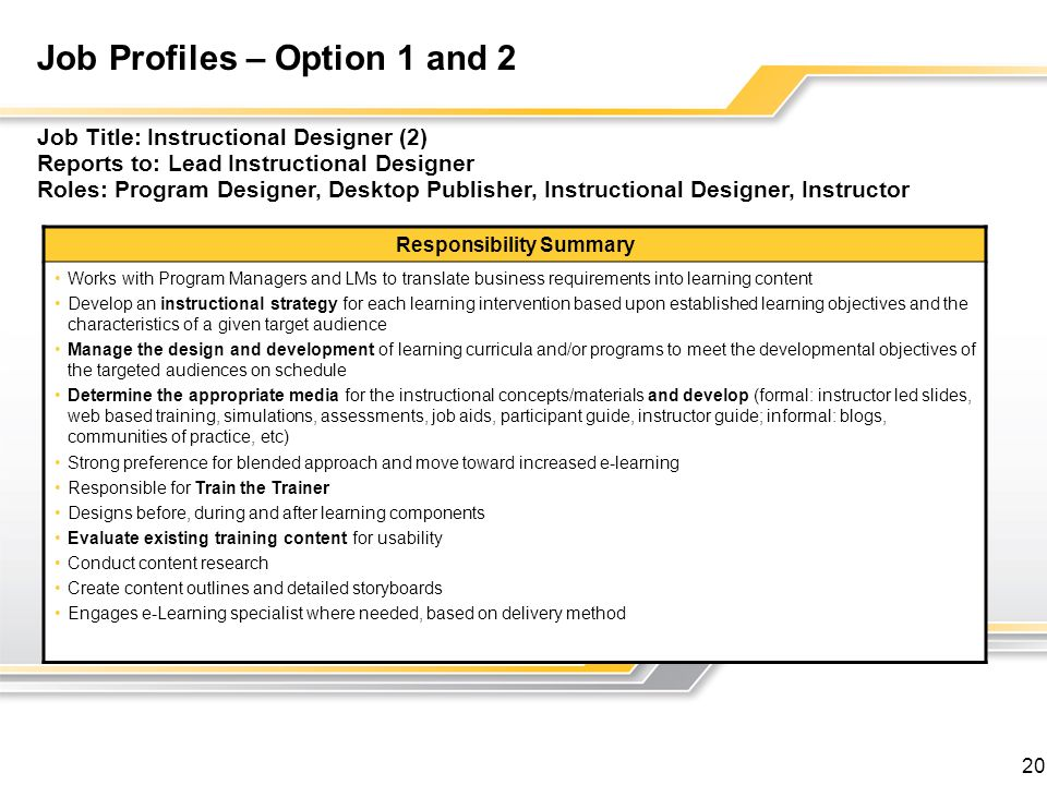 Job Profiles – Option 1 and 2