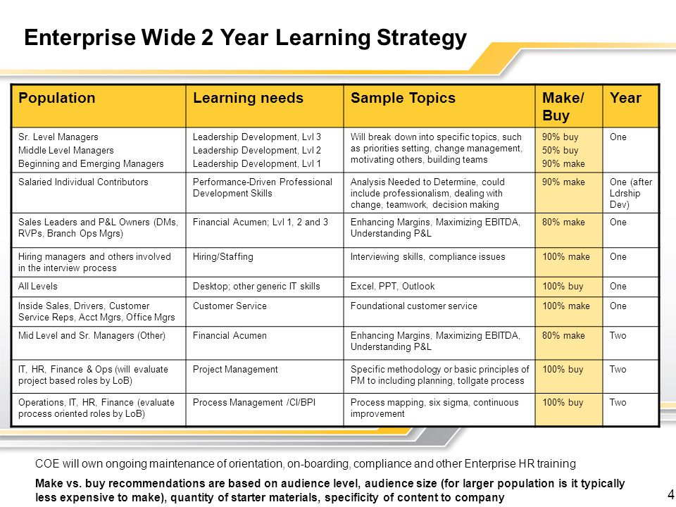 Enterprise Wide 2 Year Learning Strategy