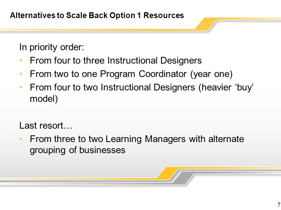 Alternatives to Scale Back Option 1 Resources