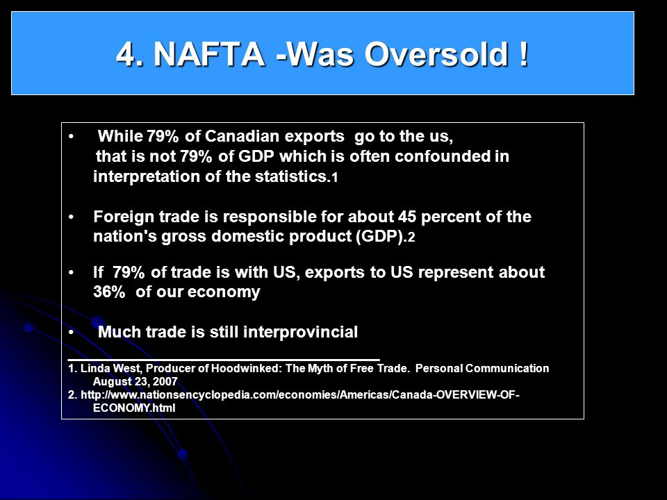 4. NAFTA -Was Oversold ! While 79% of Canadian exports go to the us,