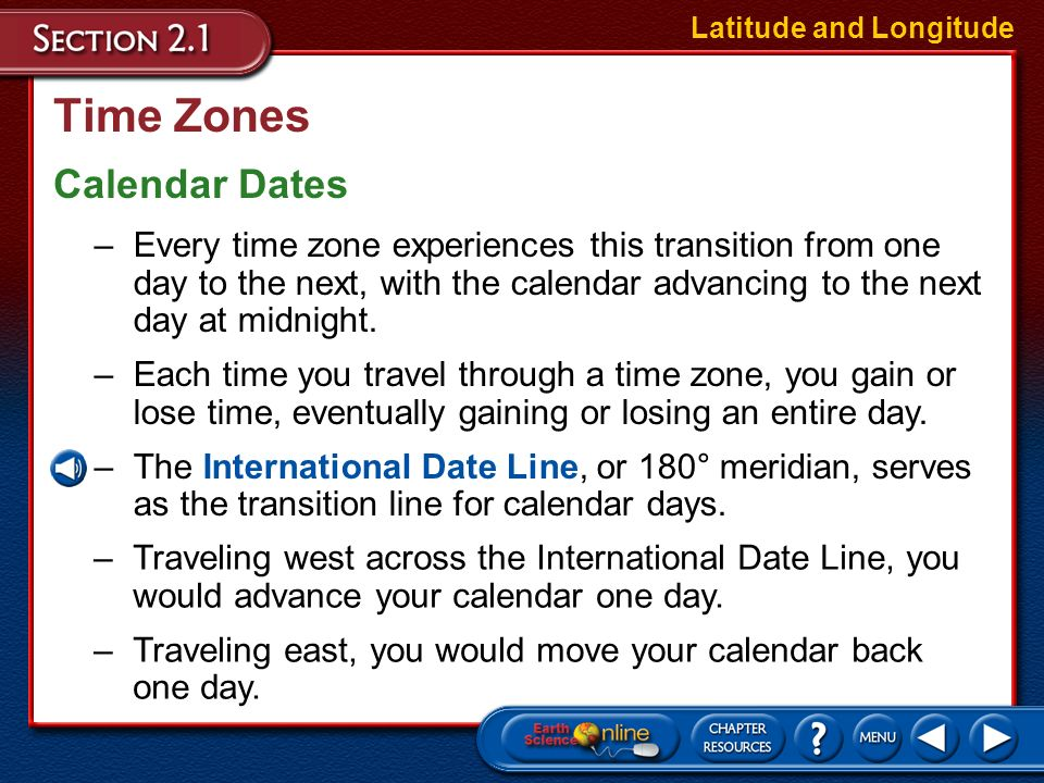 Time Zones Calendar Dates
