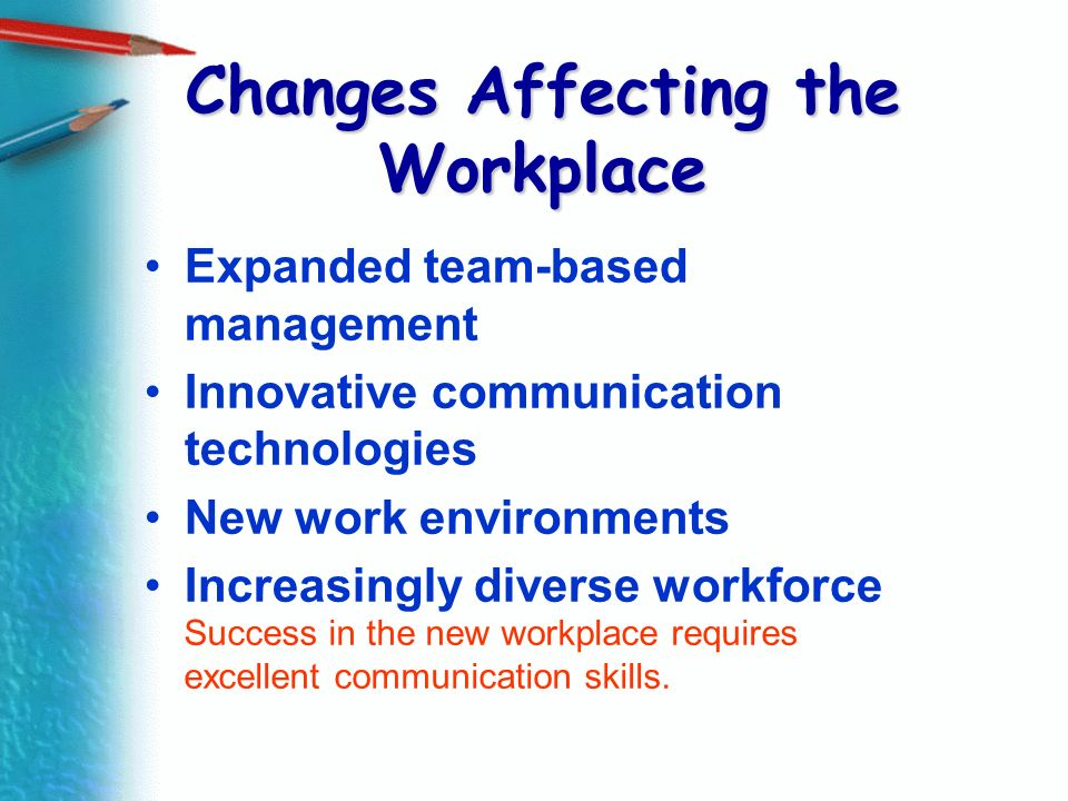 Changes Affecting the Workplace