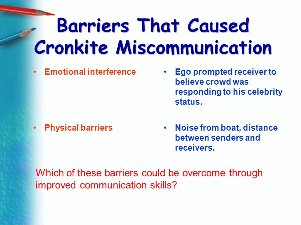 Barriers That Caused Cronkite Miscommunication