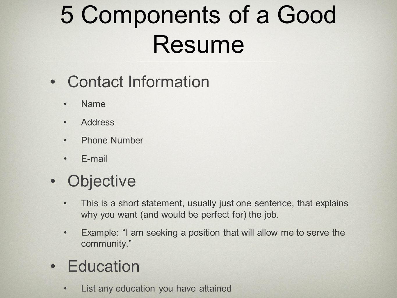 Preparing Resumes Student Activity Charts