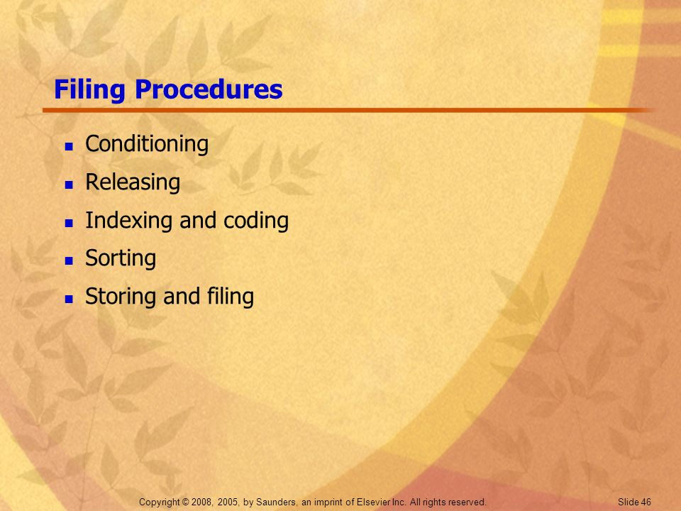 Filing Procedures Conditioning Releasing Indexing and coding Sorting