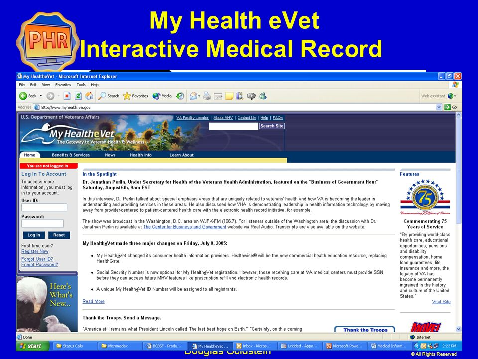 My Health eVet Interactive Medical Record