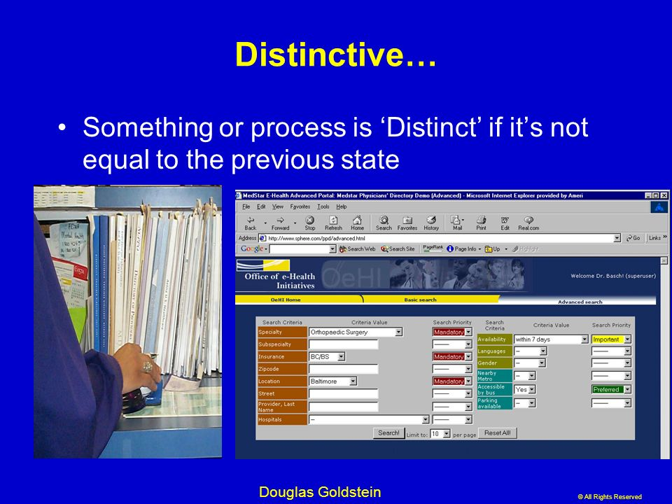 Distinctive… Something or process is 'Distinct' if it's not equal to the previous state.
