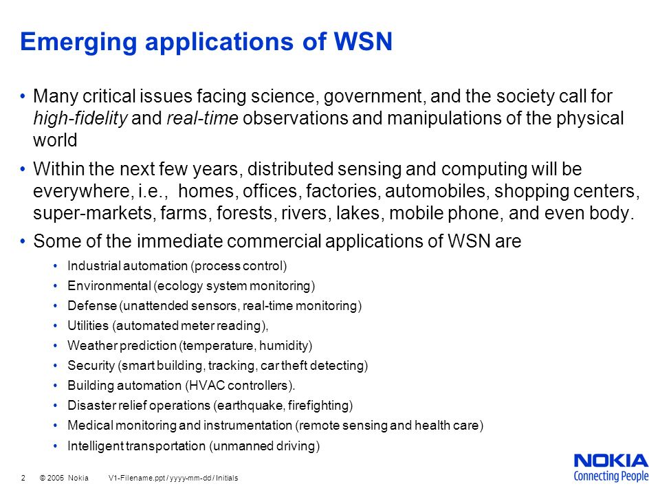 Emerging applications of WSN