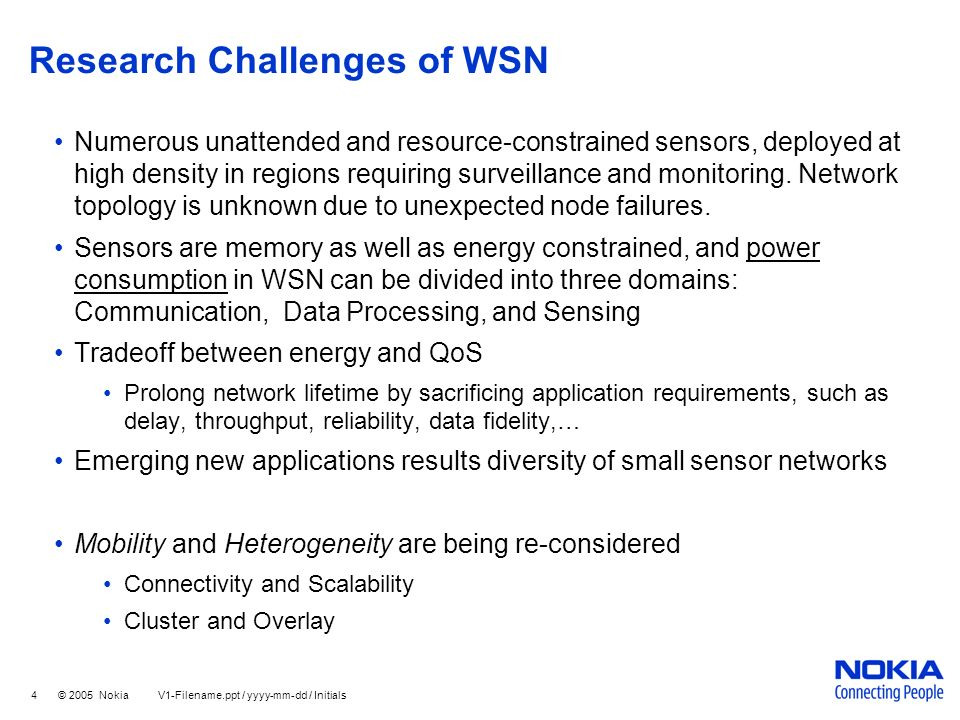 Research Challenges of WSN