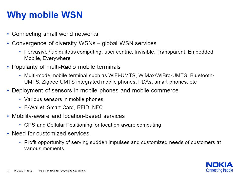 Why mobile WSN Connecting small world networks
