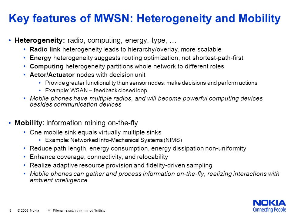 Key features of MWSN: Heterogeneity and Mobility