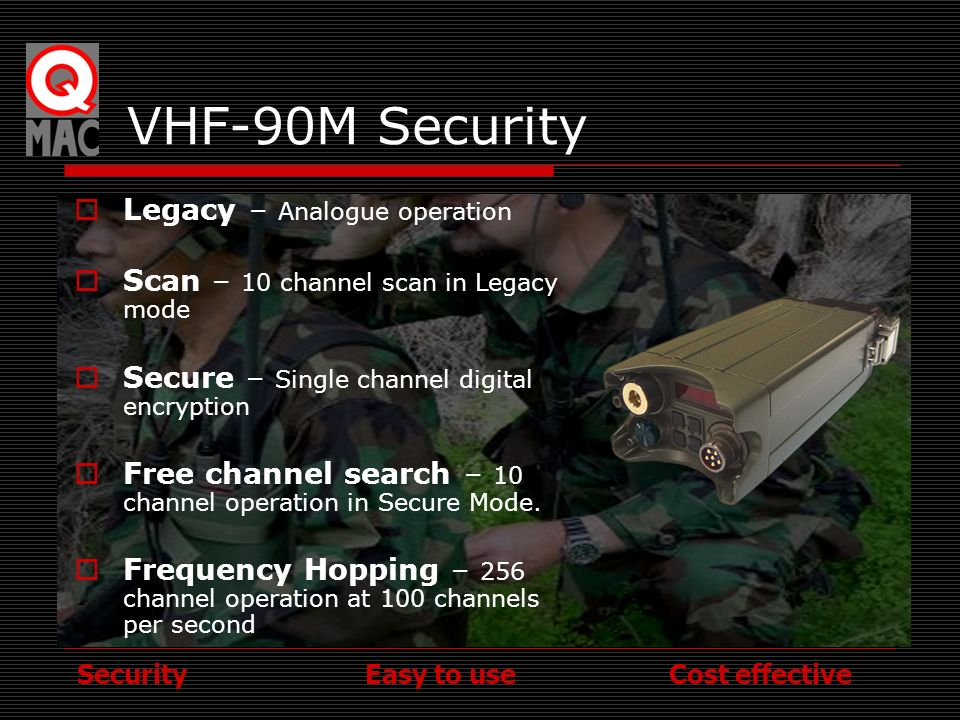 VHF-90M Security Legacy – Analogue operation