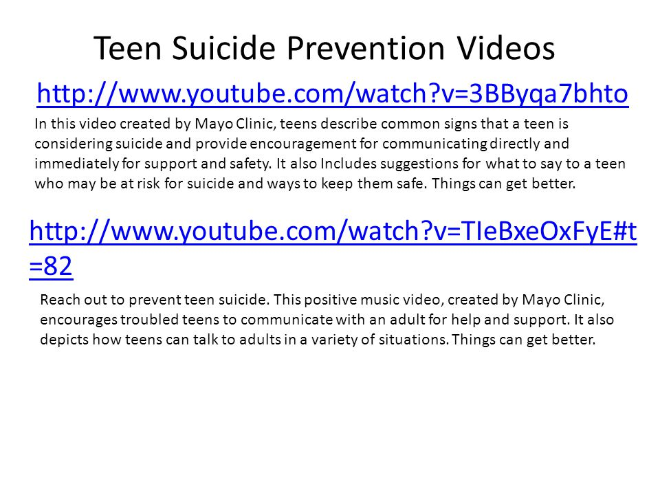 Teen Suicide Prevention Videos