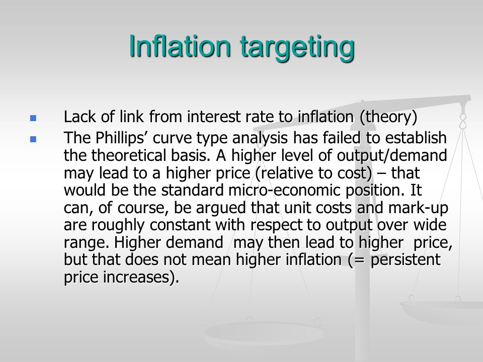 Inflation targeting Lack of link from interest rate to inflation (theory)