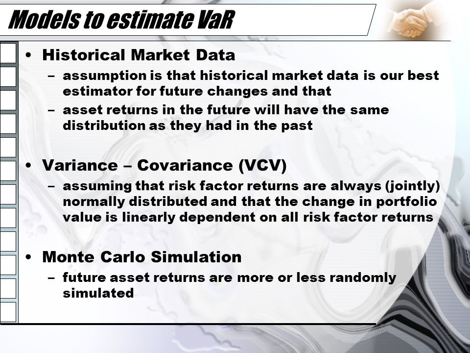 Models to estimate VaR Historical Market Data