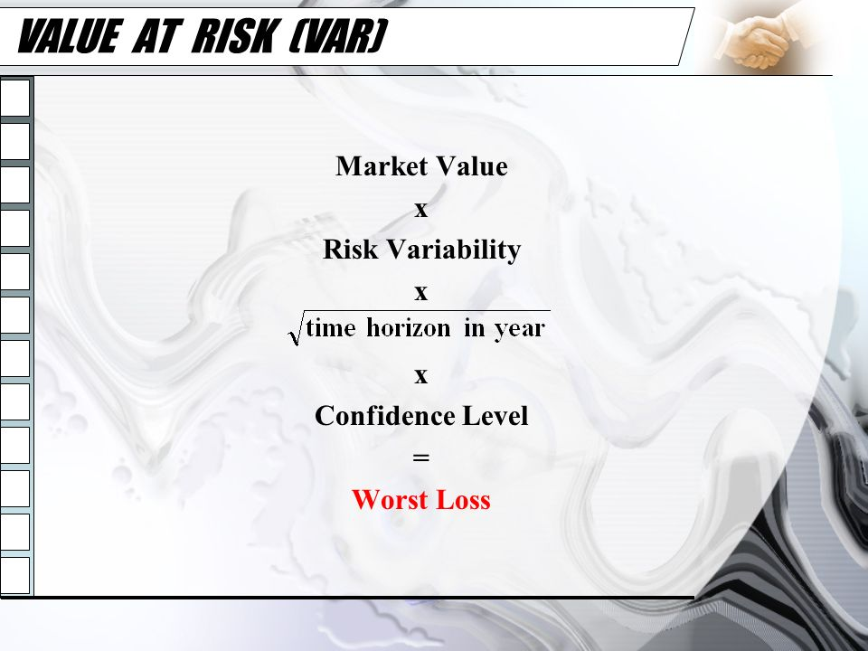 VALUE AT RISK (VAR) Market Value x Risk Variability Confidence Level =