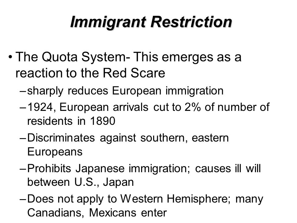 Immigrant Restriction