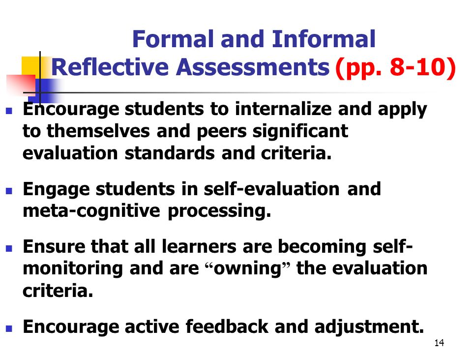 Formal and Informal Reflective Assessments (pp. 8-10)