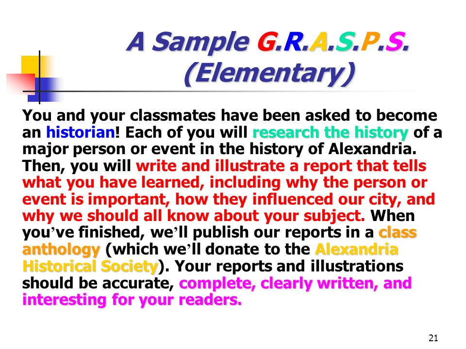 A Sample G.R.A.S.P.S. (Elementary)