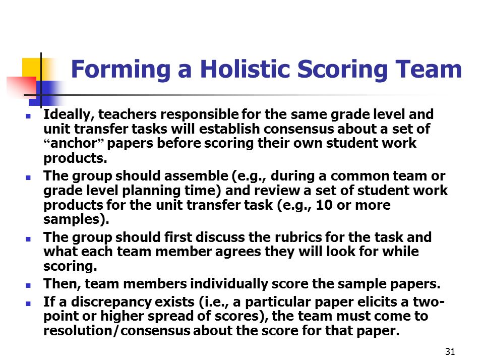 Forming a Holistic Scoring Team