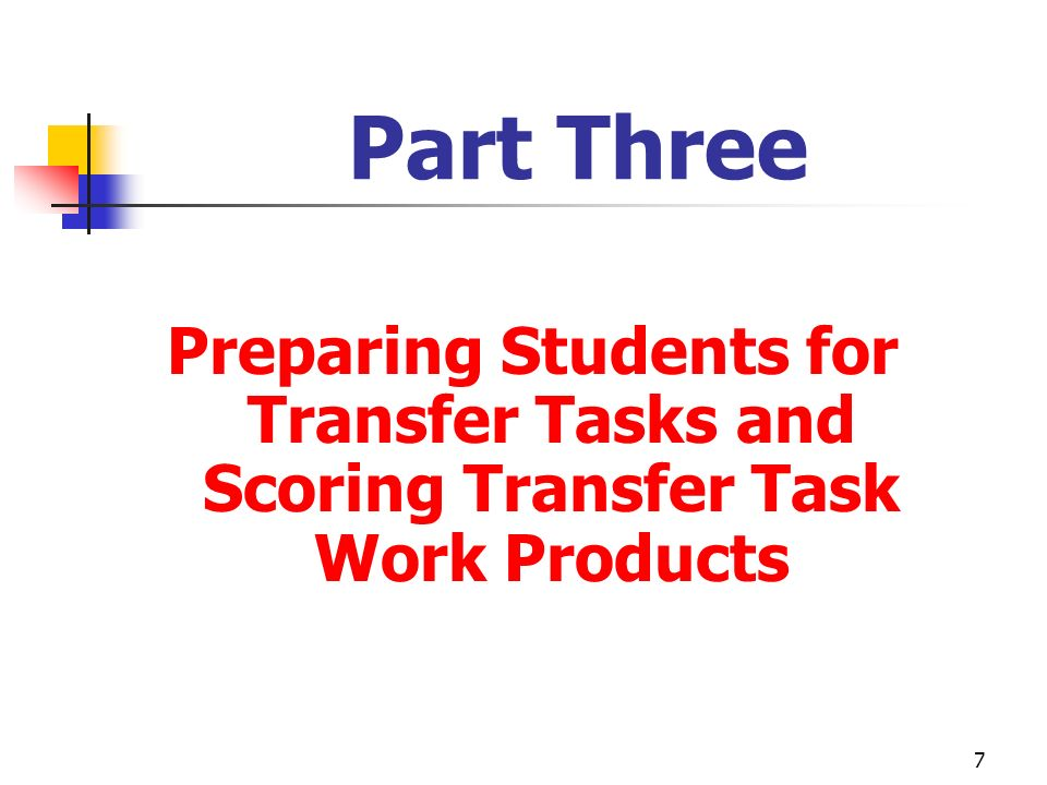 Part Three Preparing Students for Transfer Tasks and Scoring Transfer Task Work Products